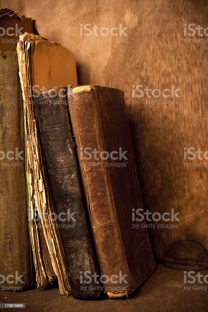 Ancient books, close-up stock photo