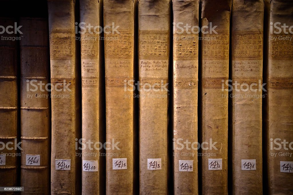Ancient books on a shelf stock photo