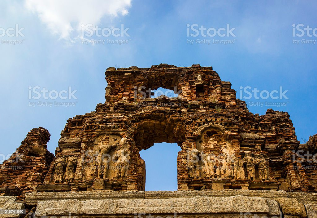 ancient brick wall in Hampi, India stock photo