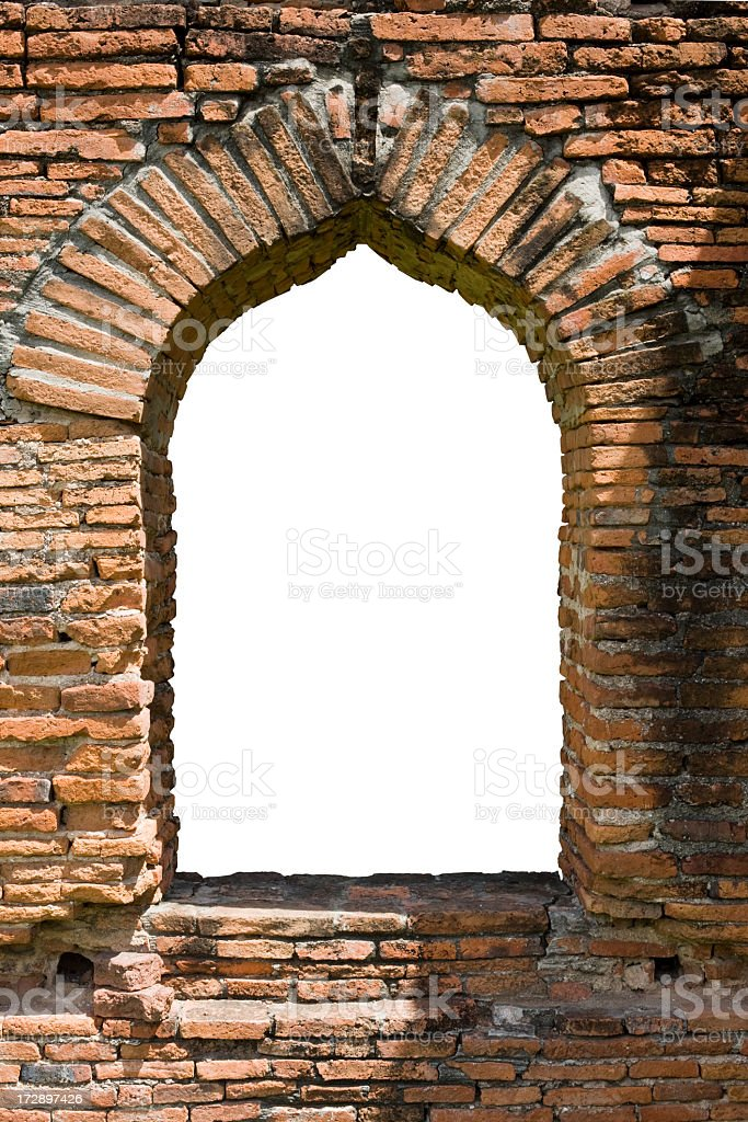 Ancient brick window arch background. royalty-free stock photo