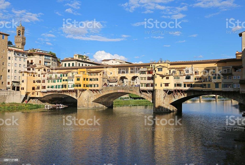 Ancient Bridge called Ponte Vecchio in Florence stock photo