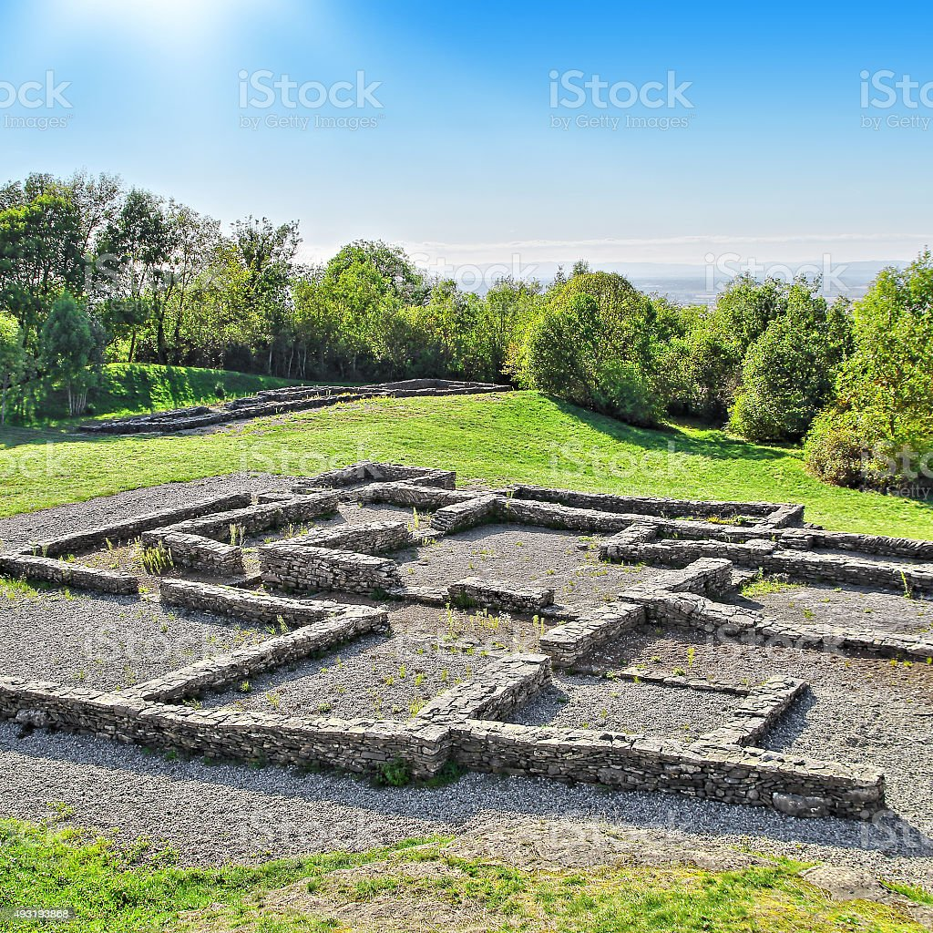 Ancient bronze age french wall ruins from old houses stock photo