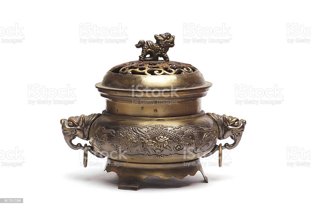 Ancient bronze incense burner stock photo