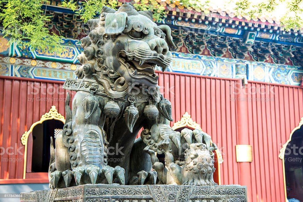 Ancient bronze lion (Beijing, China) stock photo