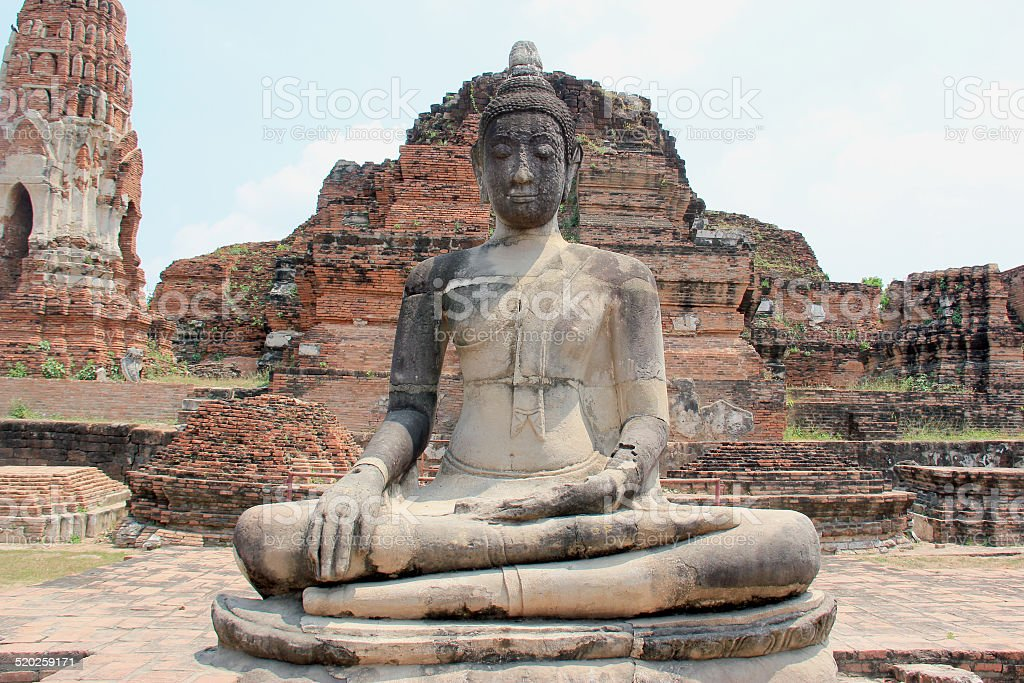 Ancient Buddha at Wat Mahathat Temple in Ayudhaya, Thailand stock photo