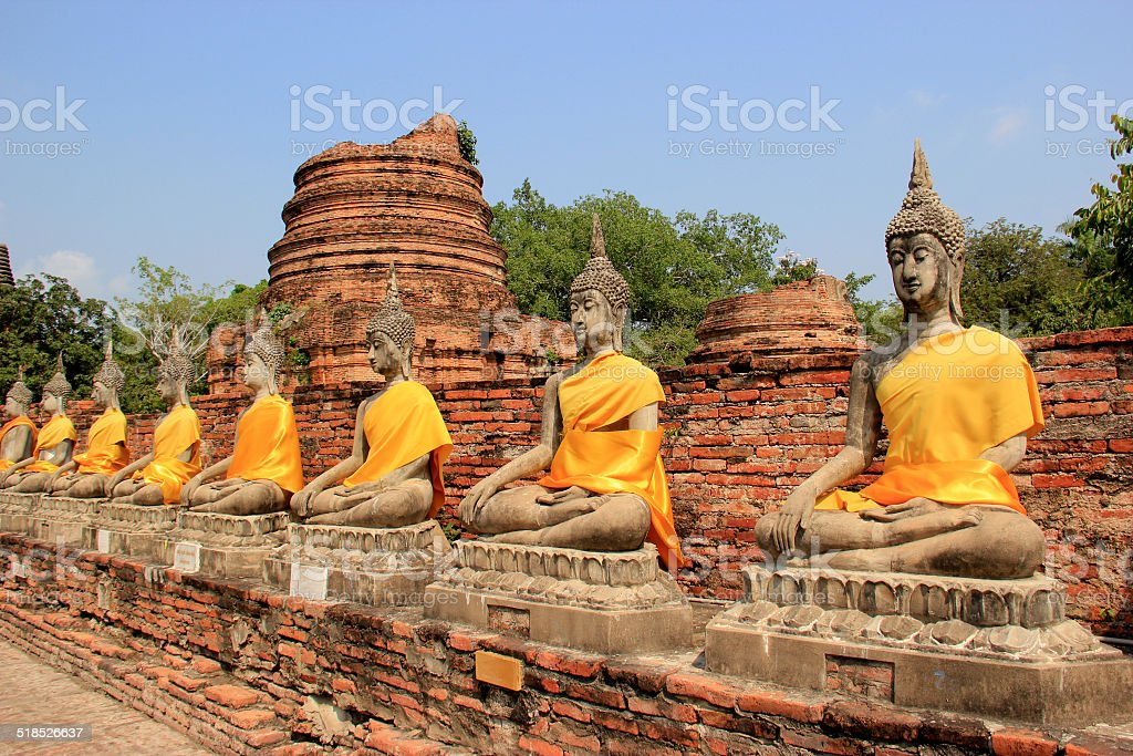 Ancient Buddha at Watyaichaimongkol Temple in Ayudhaya, Thailand stock photo
