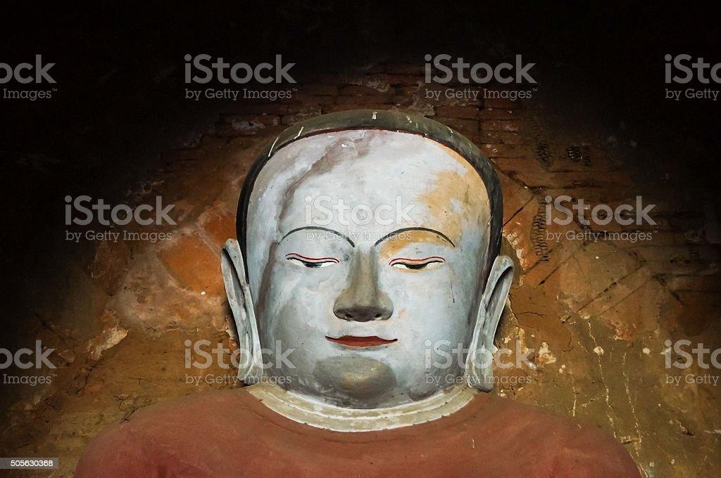 Ancient Buddha Face in old Bagan Burma stock photo