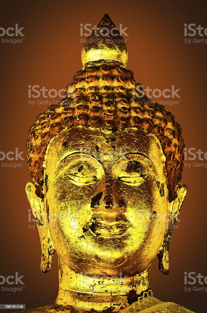 Ancient Buddha face Thailand royalty-free stock photo