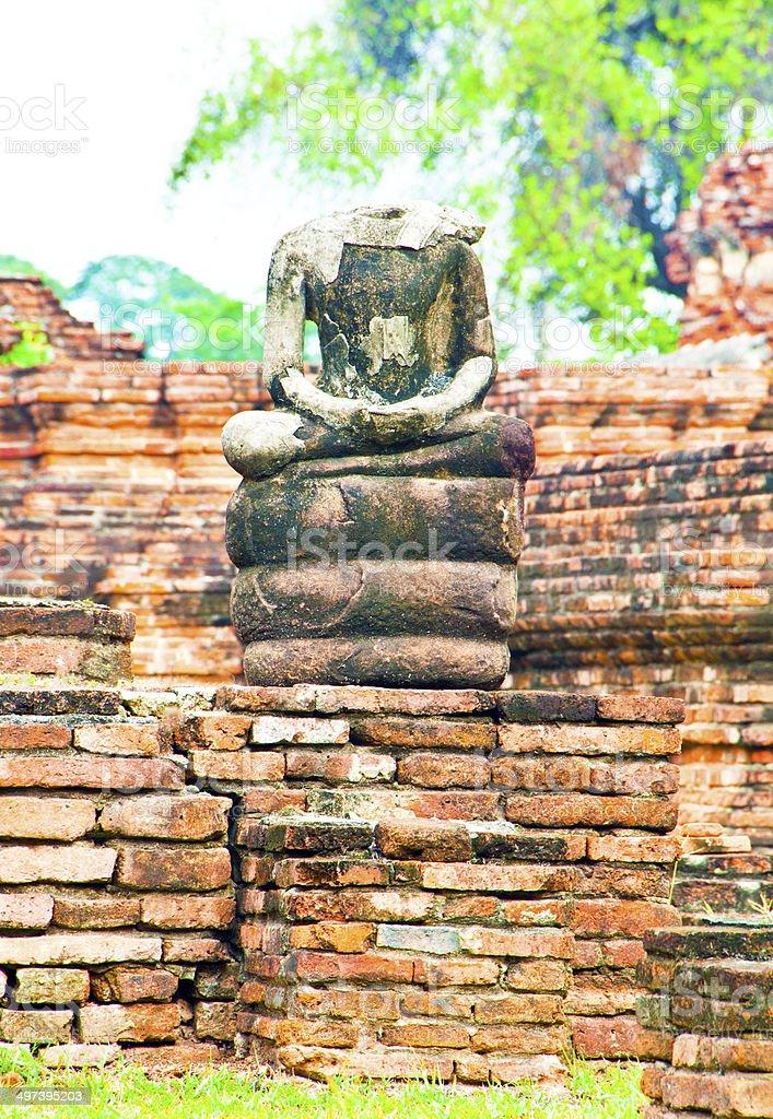 ancient  buddha  in ayuthaya ruins stock photo