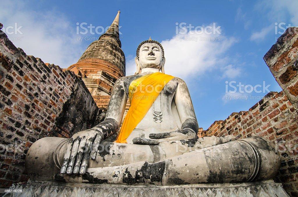 Ancient Buddha in Wat Yai Chaimongkol, Ayutthaya, Thailand stock photo