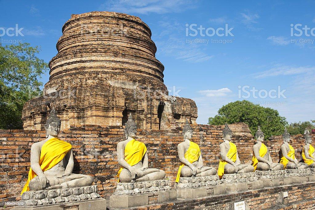 Ancient Buddha statue at Wat Yai Chaimongkol, Thailand. royalty-free stock photo