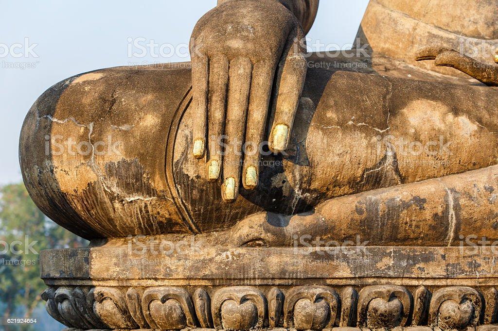 Ancient buddha statue. Sukhothai Historical Park stock photo