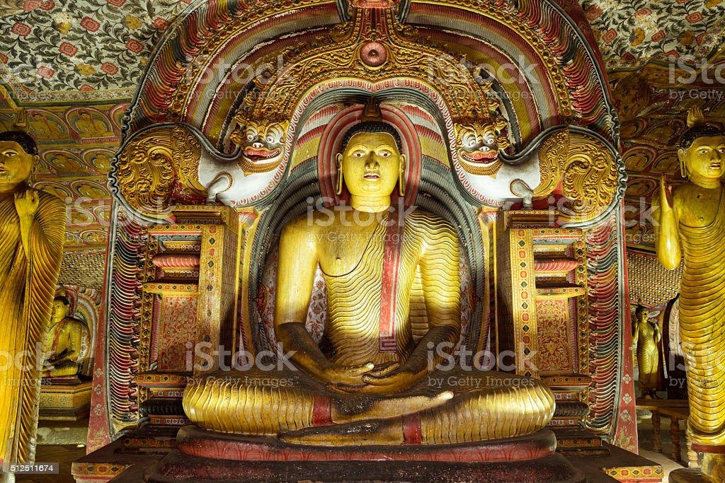 Ancient Buddha Statues in Dambulla Cave Temple, Sri Lanka stock photo