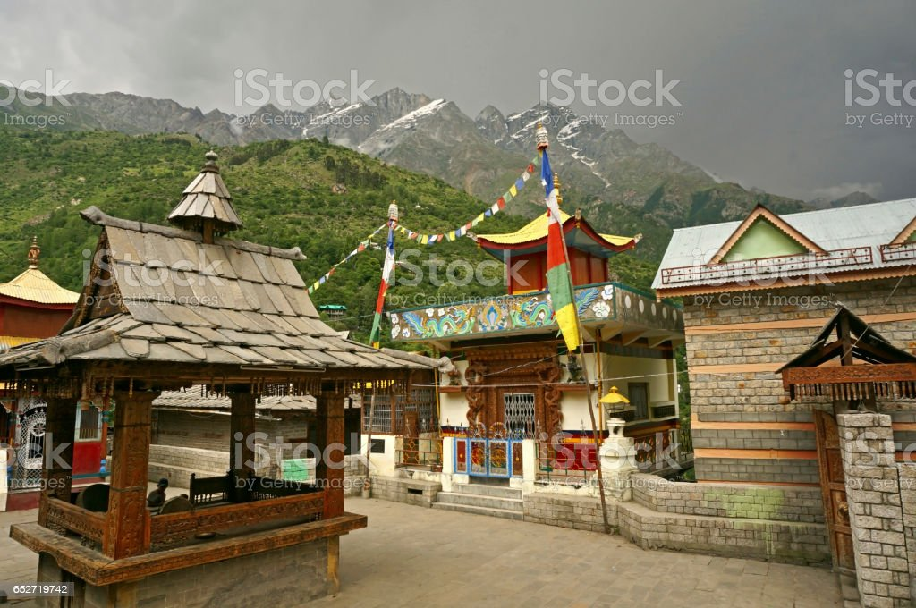 Ancient Buddhist and Hindu Temples in the Village of Kamru situated in the High-Altitude Mountain Region in the Himalayas stock photo