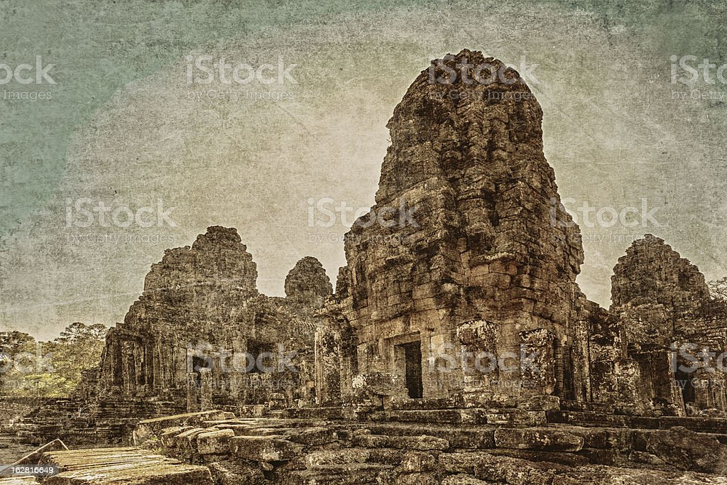 Ancient buddhist khmer temple in retro style royalty-free stock photo