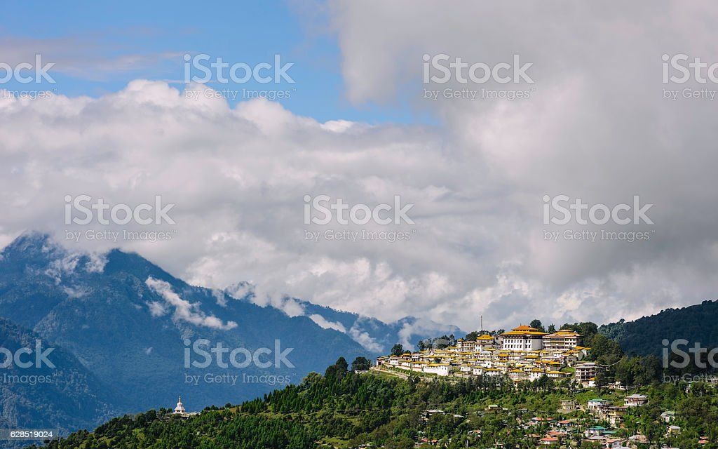 Ancient Buddhist monastery at Tawang, Arunachal Pradesh, India. stock photo