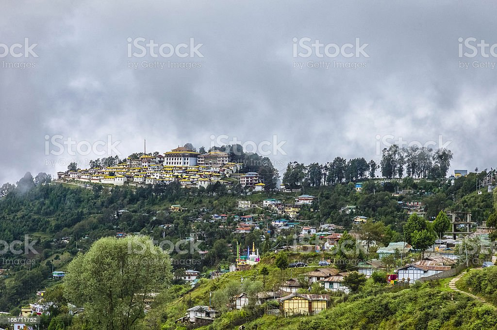 Ancient Buddhist monastery, Tawang, Arunachal Pradesh, India. stock photo