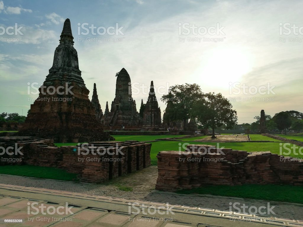 Ancient buddhist temple complex in Ayutthaya Historical Park stock photo