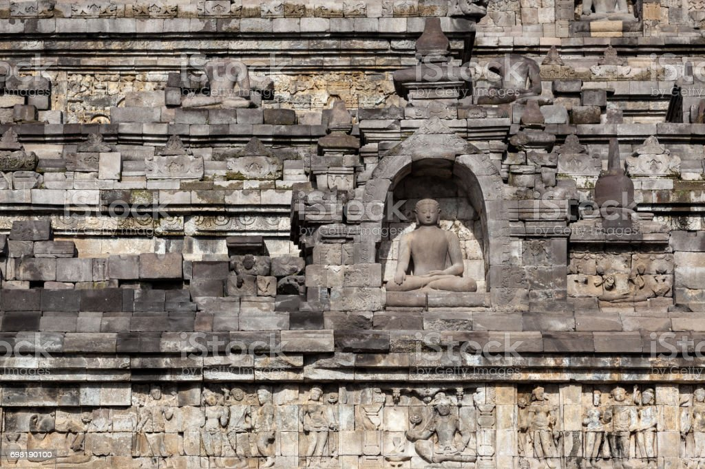 Ancient buddhist temple detail. stock photo
