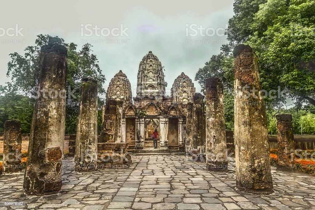 Ancient Buddhist Temple in Thailand stock photo