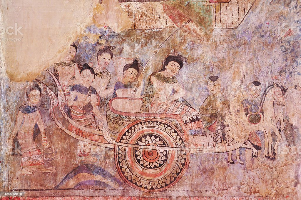 Ancient Buddhist temple mural royalty-free stock photo