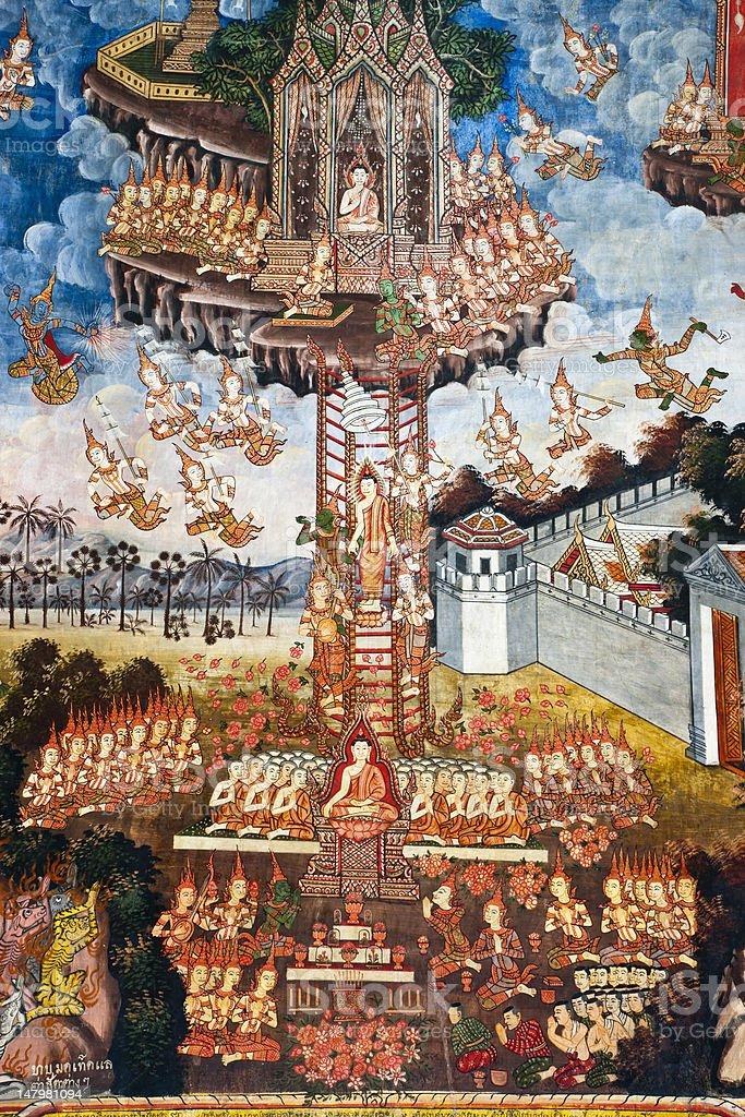 Starożytny mnich temple mural zbiór zdjęć royalty-free