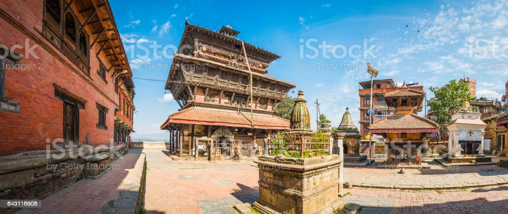 Ancient Buddhist temples shrines panorama in Kirtipur overlooking Kathmandu Nepal stock photo