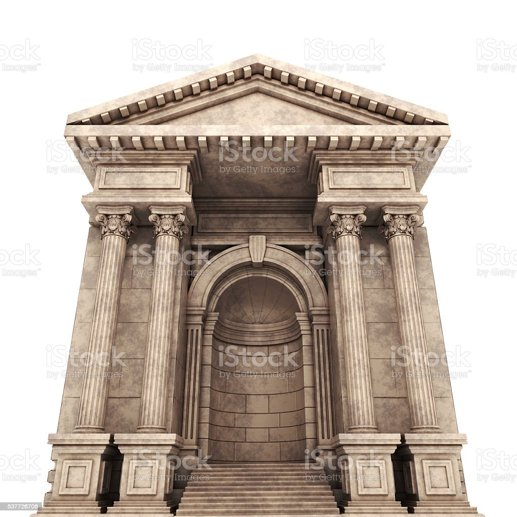 Ancient Building. 3d render. stock photo