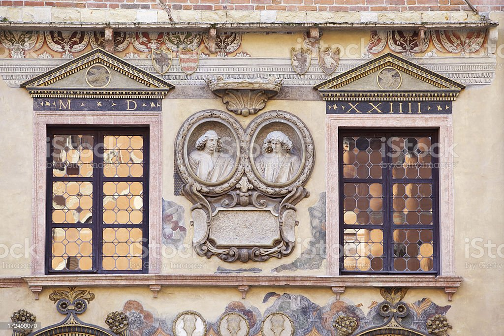 Ancient building facade in Square of Lords. Verona-Italy. stock photo