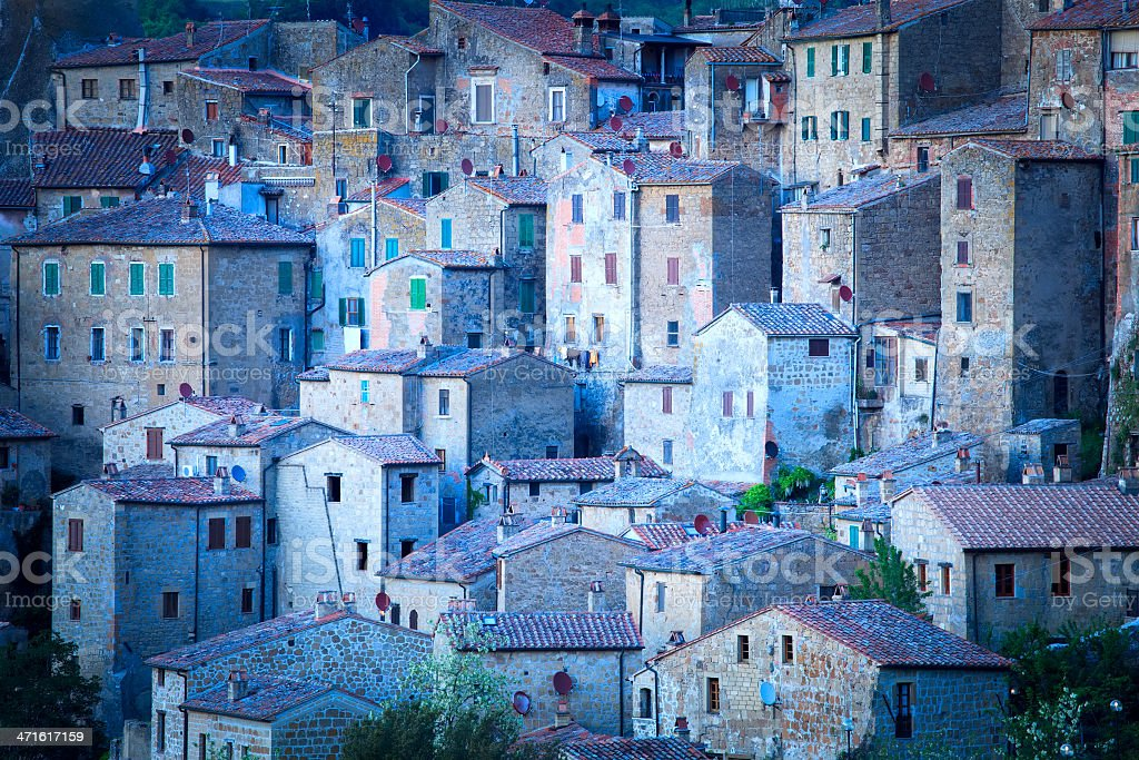 Ancient building in a row Italy stock photo