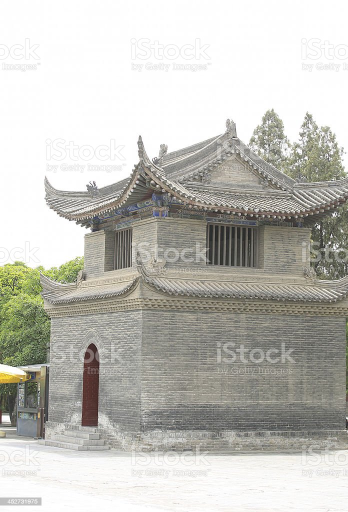 ancient building in da ci'en temple stock photo