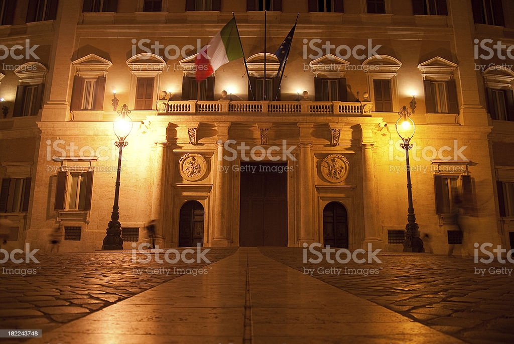 ancient building in roma at night royalty-free stock photo