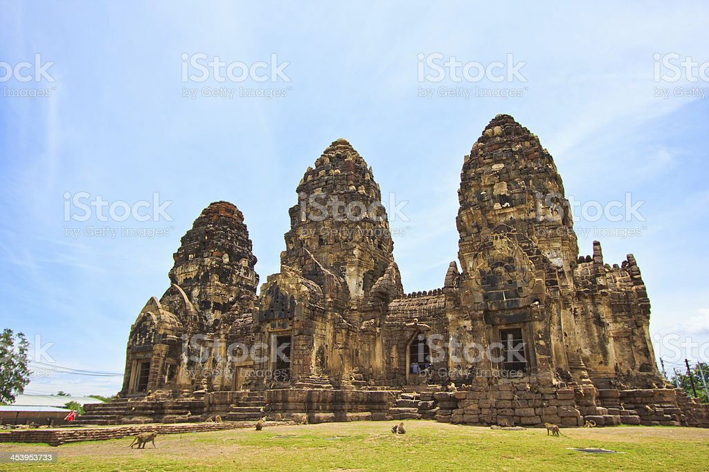 Ancient building Wat Phra Si Rattana Mahathat in Lopburi Thailand stock photo
