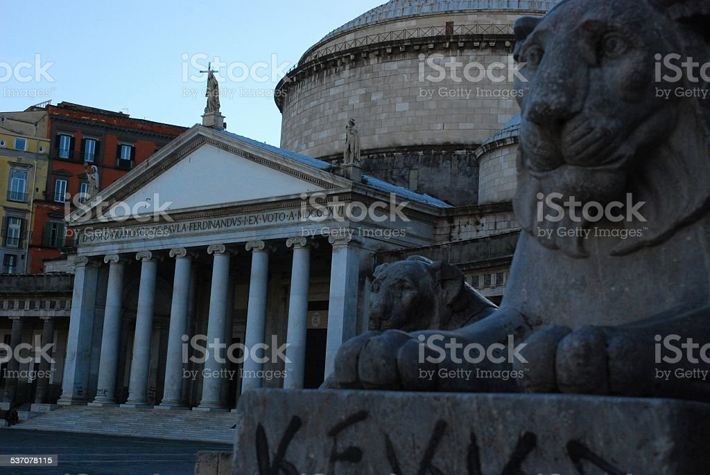 Ancient Buildings and Statues in Naples, Italy royalty-free stock photo