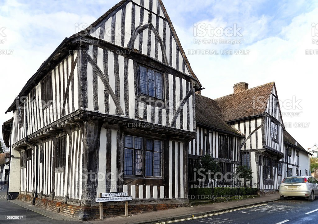 Ancient buildings in Lavenham stock photo