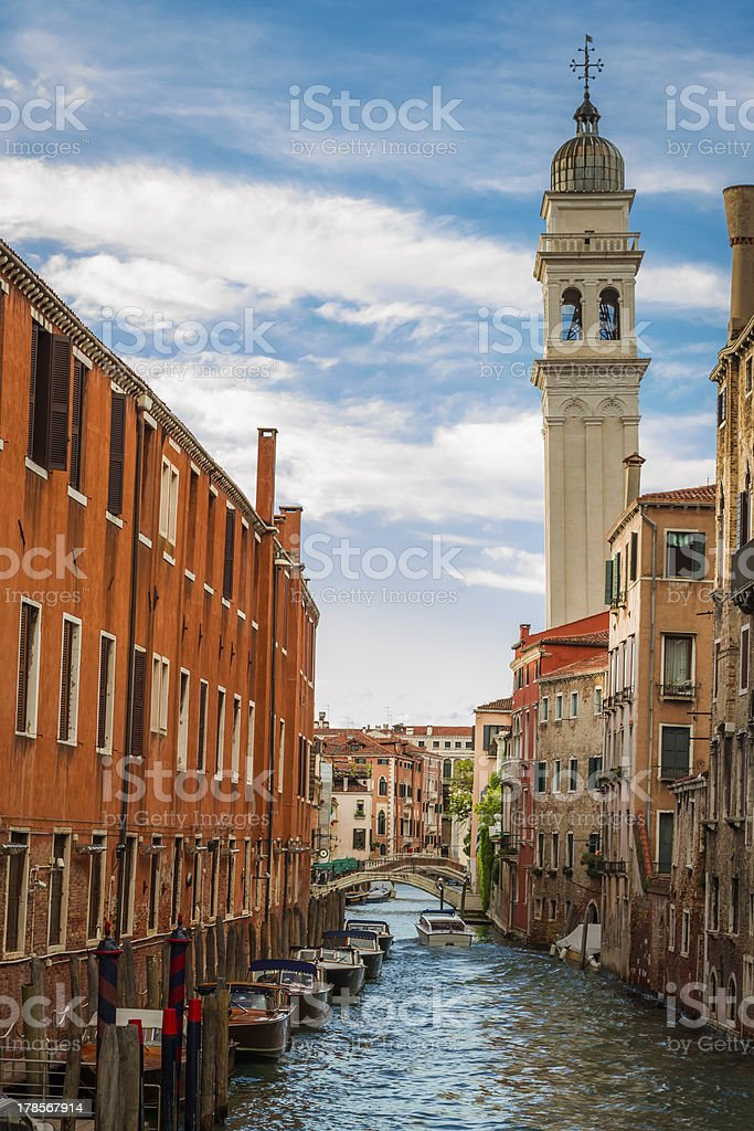 Ancient buildings on a canal in Venice royalty-free stock photo