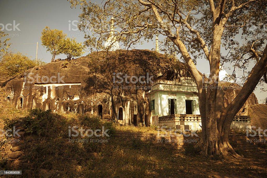 Ancient Burmese mountain temple stock photo