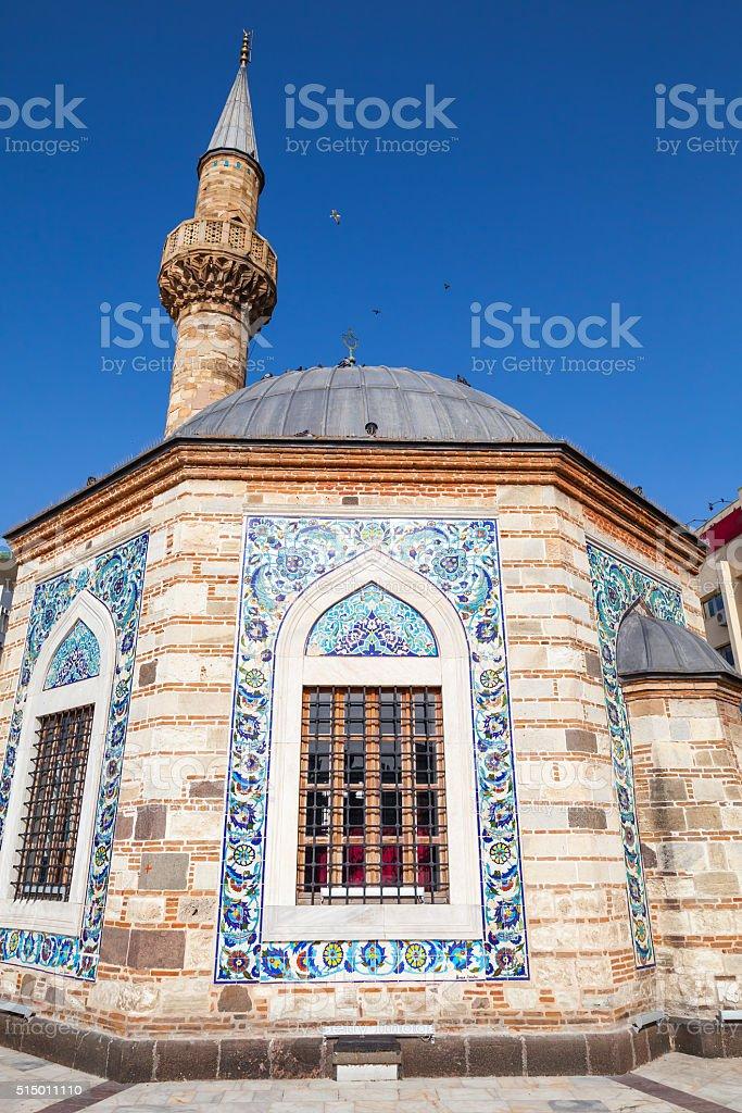 Ancient Camii mosque facade and minaret, Izmir stock photo