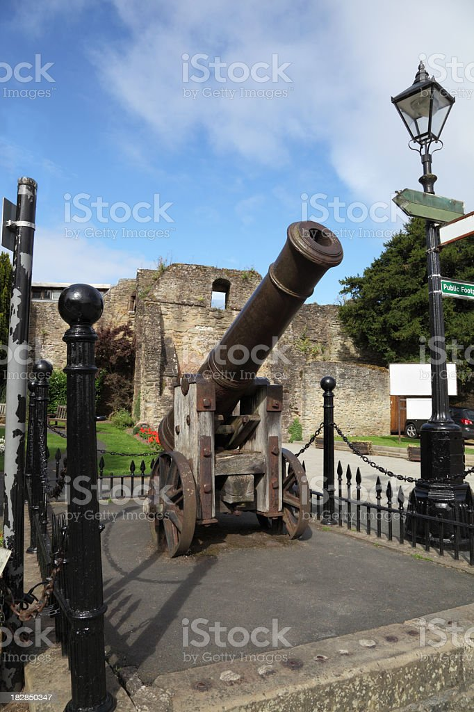 ancient cannon guards medieval castle ruin stock photo