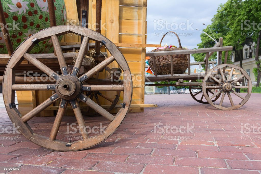 Ancient carts on the town square during the city fair stock photo