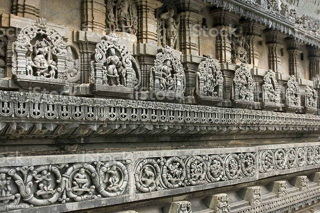 ancient carvings of god and goddess at chenna keshava temple royalty-free stock photo