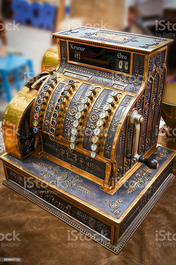 Ancient cash register, rarity stock photo