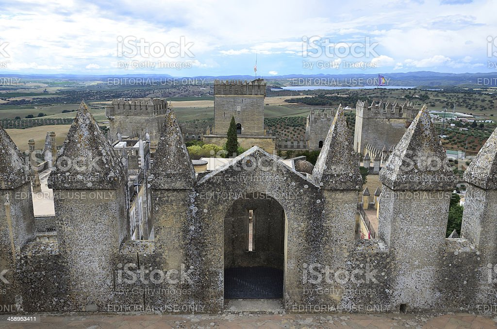 Ancient castle above the valley stock photo