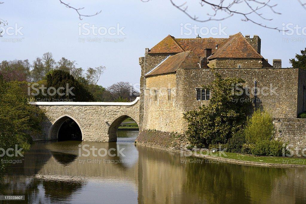 Ancient castle and bridge stock photo