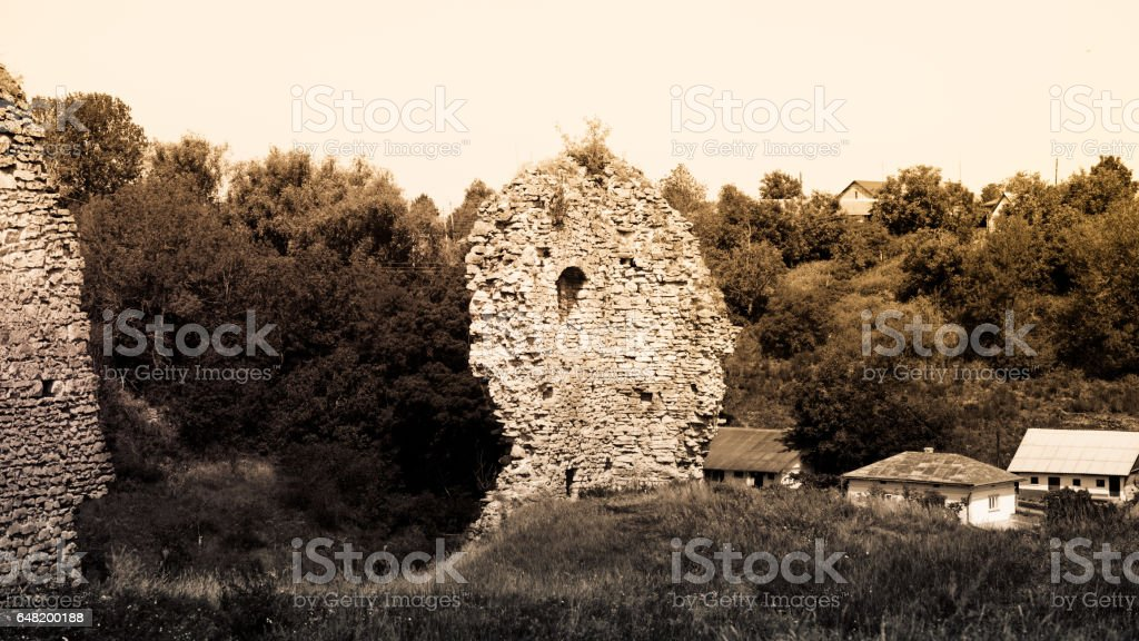 Ancient castle in the village of Scala Podolsk, Ukraine stock photo