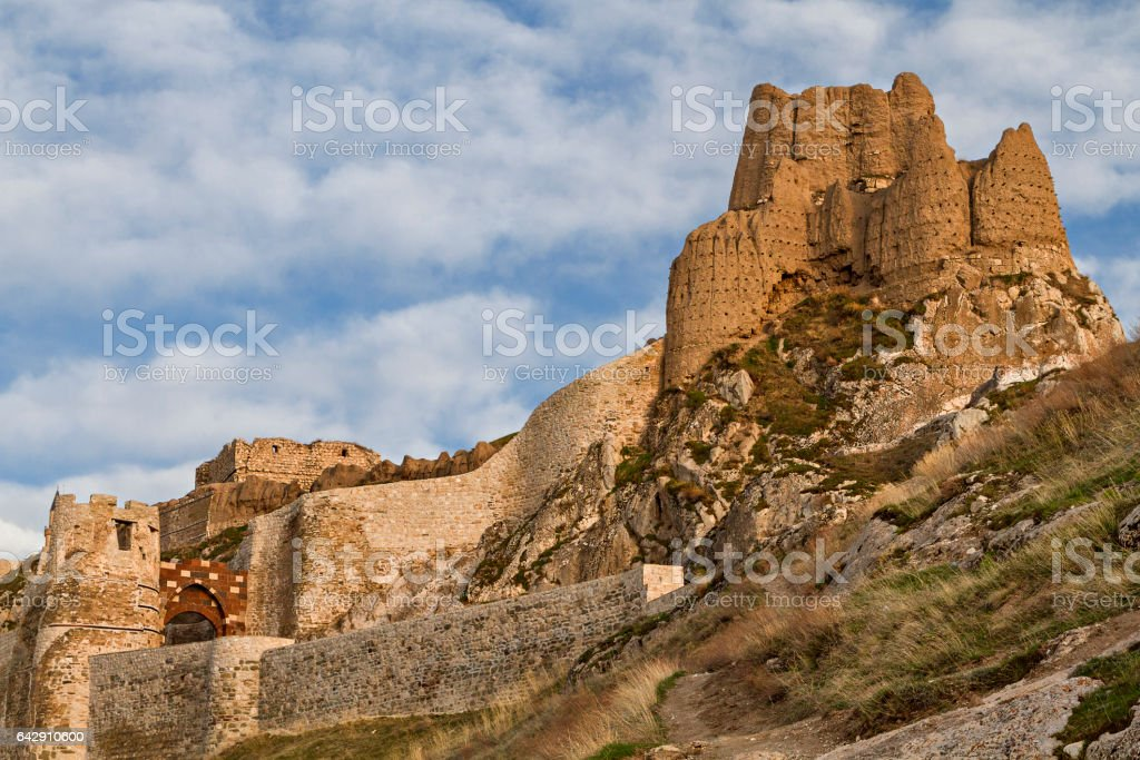 Ancient castle of Van in Turkey, known also as Tushba Castle stock photo