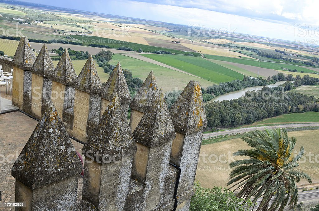 Ancient castle over the fertile valley stock photo
