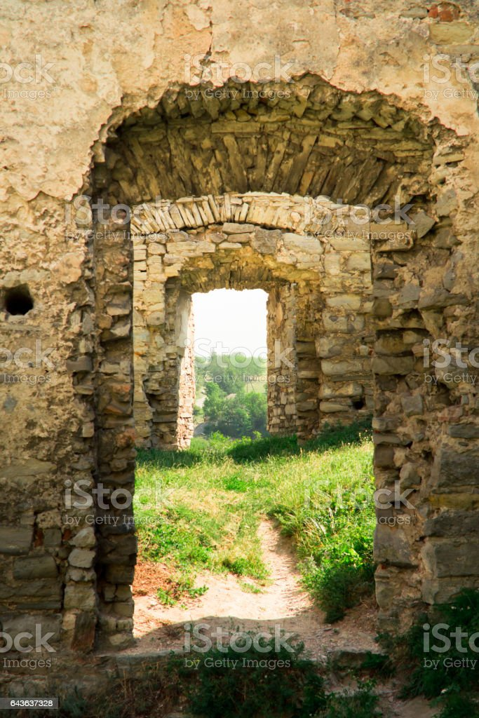 Ancient castle ruins in the village of Scala Podolsk, Ukraine stock photo
