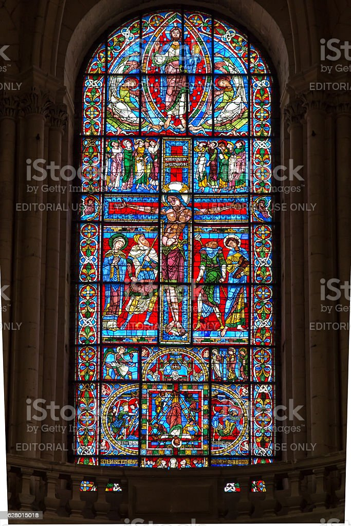 Ancient cathedral church in Poitiers in France - stained glass stock photo