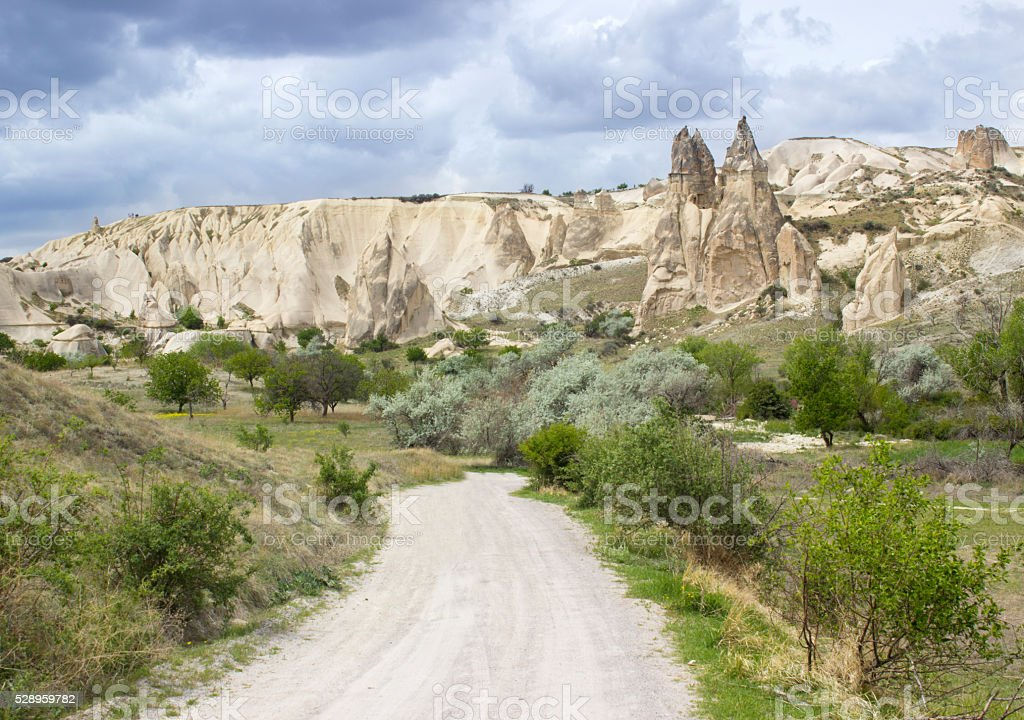 Ancient cave homes in Cappadocia, Turkey stock photo